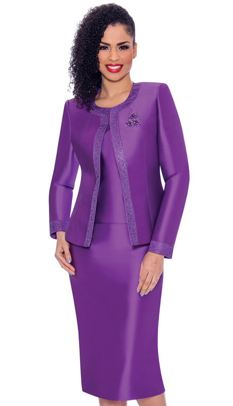 Terramina 7637-PU ( 3pc Silk Look Womens Sunday Suit With Pattern Trim Design And Brooch )