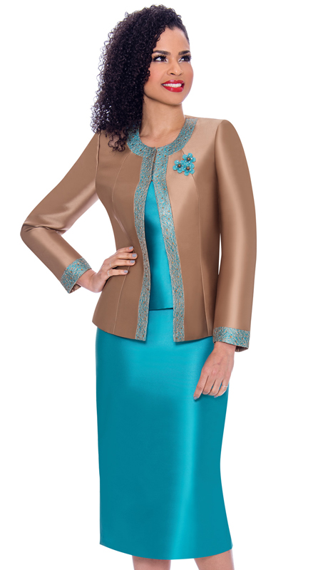 Terramina 7637-MT ( 3pc Silk Look Womens Sunday Suit With Pattern Trim Design And Brooch )