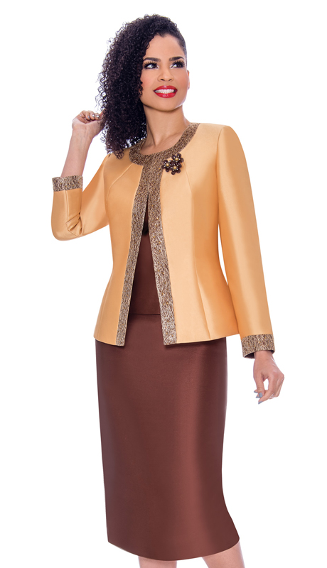 Terramina 7637-GB ( 3pc Silk Look Womens Sunday Suit With Pattern Trim Design And Brooch )