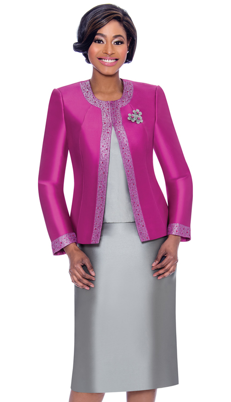 Terramina 7637-FG ( 3pc Silk Look Womens Sunday Suit With Pattern Trim Design And Brooch )
