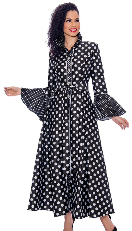Terramina 7785-BK ( 1pc Silk Look Long Pleated Dress In Polka Dot Design With Bell Cuff Sleeves )