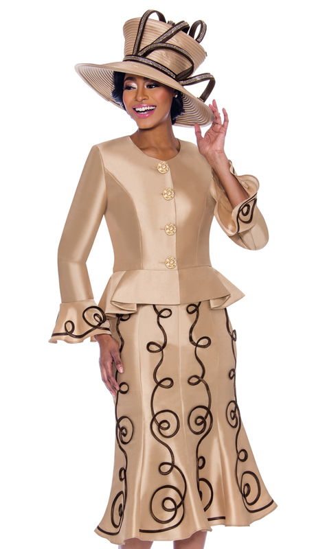 Terramina 7784-CH ( 2pc Silk Look Flared Skirt Suit With Piping Adornment Design And Bell Cuff Peplum Jacket )