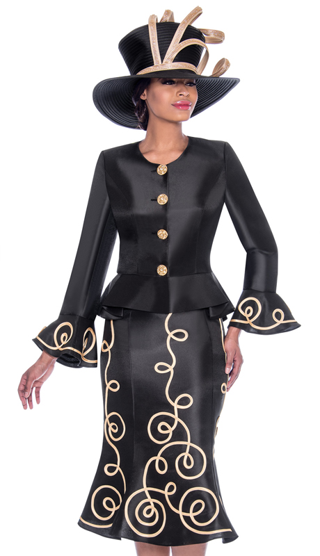 Terramina 7784-BK ( 2pc Silk Look Flared Skirt Suit With Piping Adornment Design And Bell Cuff Peplum Jacket )