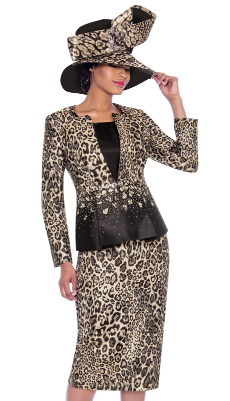 Terramina 7783-LE ( 3pc Novelty Womens Skirt Suit With Leopard Pattern Design )