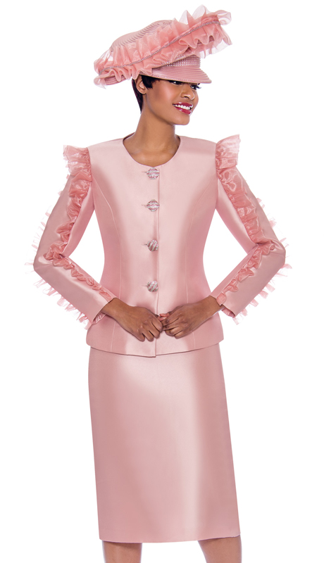 Terramina 7781-RO ( 2pc Silk Look Ladies Skirt Suit With Ruffle Sleeve Adornment Design On Jacket )