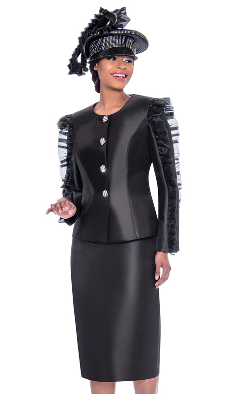 Terramina 7781-BK ( 2pc Silk Look Ladies Skirt Suit With Ruffle Sleeve Adornment Design On Jacket )