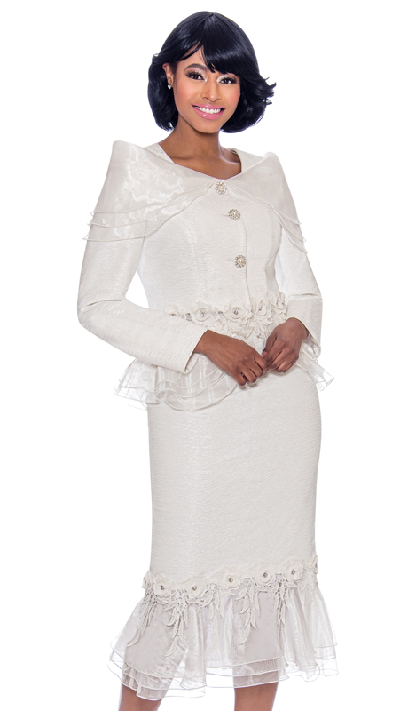 Terramina 7780-WH ( 2pc Jacquard With Organza Ladies Church Suit With Ruffle Trimmed Skirt And Jacket )
