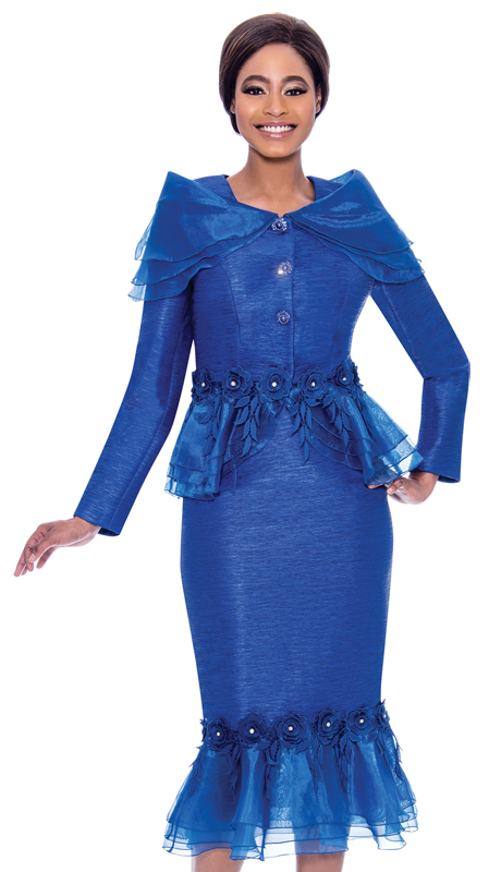 Terramina 7780-RO ( 2pc Jacquard With Organza Ladies Church Suit With Ruffle Trimmed Skirt And Jacket )