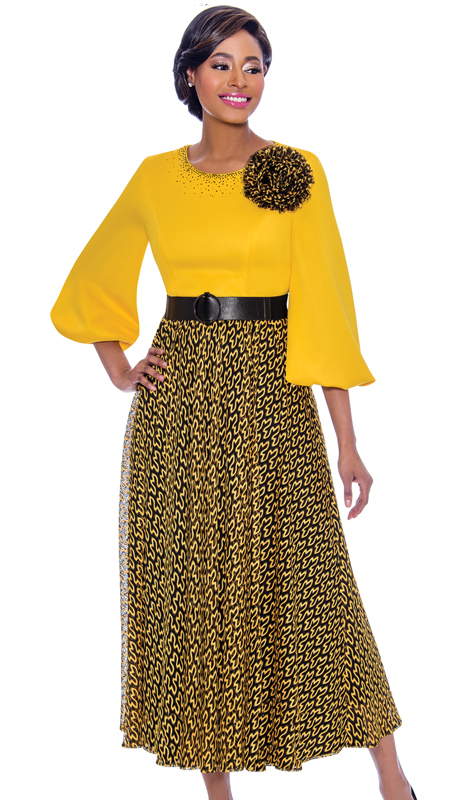Terramina 7779-GO  ( 1pc Novelty Abstract Pattern Dress With Solid Puff Sleeve Bodice Including Flower Adornment )