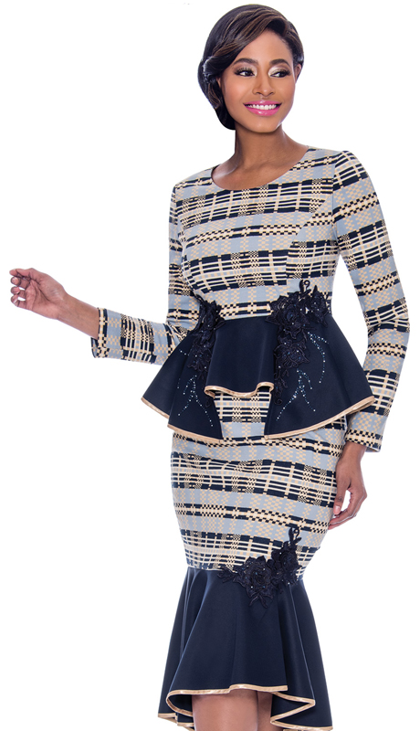 Terramina 7778-NP ( 1pc Novelty Flounce Hem Dress With Horizontal Print Pattern And Peplum Accent )
