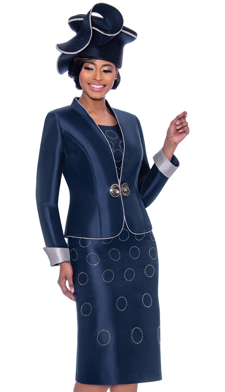 Terramina 7777-NA ( 2pc Silk Look Church Dress With Spherical Pattern Design & Rolled Cuff Jacket )