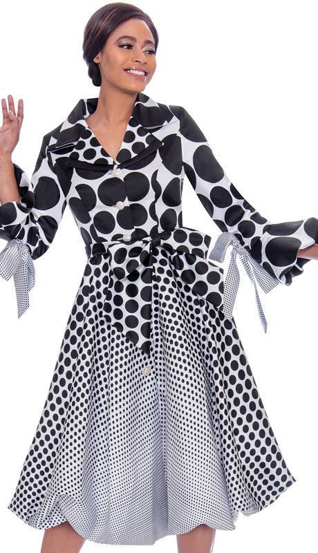 Terramina 7794-BW ( 1pc Silk Look Pleated Polka Dot Dress Decorated With Bows )