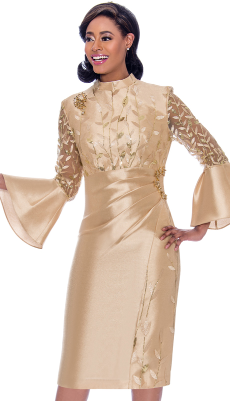 Terramina 7775-GO ( 1pc Silk Look Bell Sleeve Dress With Delicate Leaf Applique And Ruched Effect Design )
