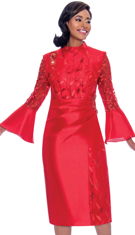 Terramina 7775-RE ( 1pc Silk Look Bell Sleeve Dress With Delicate Leaf Applique And Ruched Effect Design )