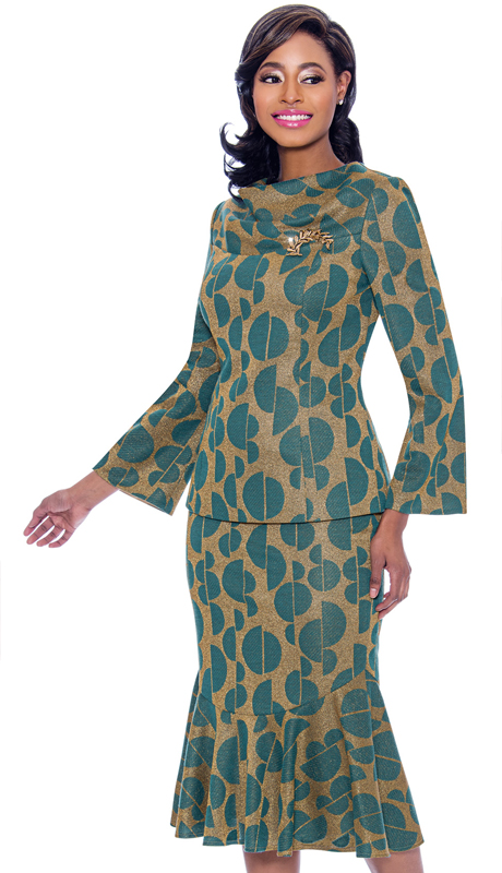 Terramina 7772-TG ( 2pc Novelty Flounce Hem Skirt Suit With Cowl Neckline In Split Sphere Pattern Print )