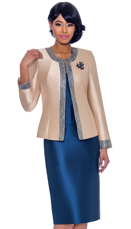 Terramina 7637-CN ( 3pc Silk Look Womens Sunday Suit With Pattern Trim Design And Brooch )