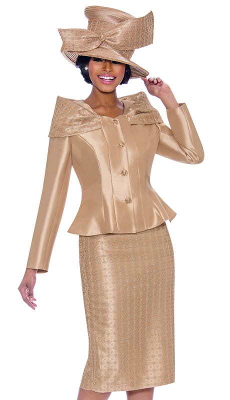 Terramina 7792-GO ( 2pc Silk Look With Novelty Suit And Jacket )