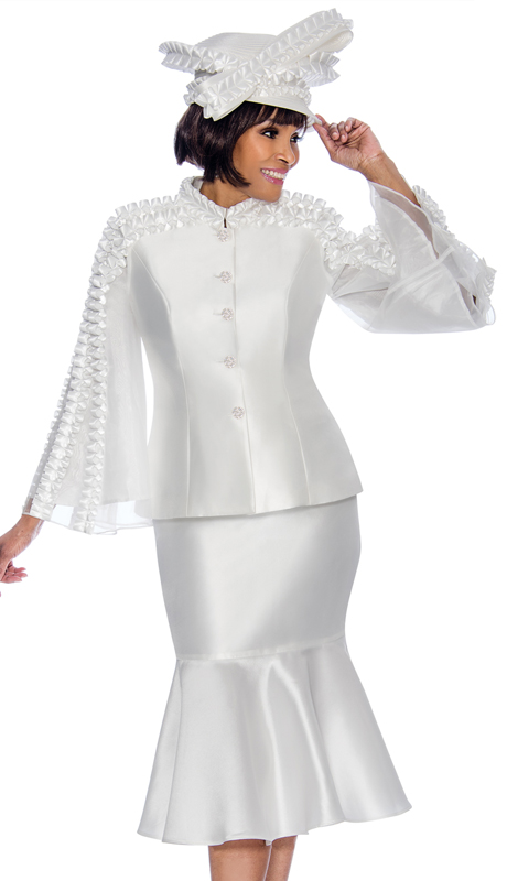 Terramina 7712-PE ( 2pc Silk Look With Organza Ladies Church Suit With Flounce Skirt And Angel Sleeve Jacket )