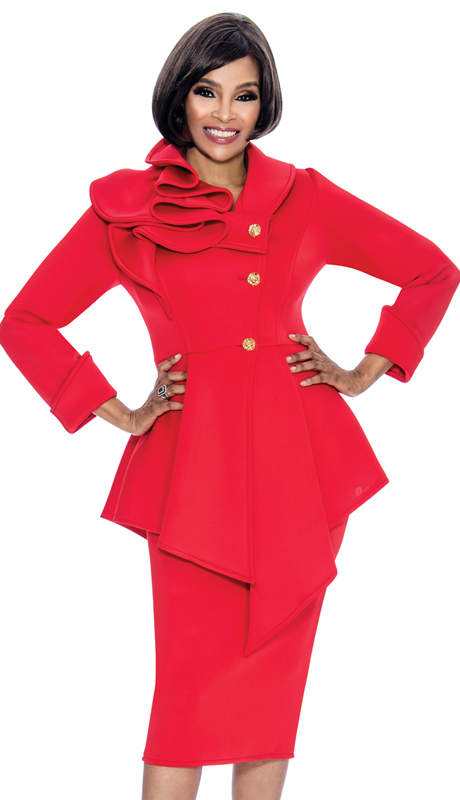 Terramina 7705-RE ( 2pc Scuba Knit Ladies Church Suit With Asymmetric Style Jacket )