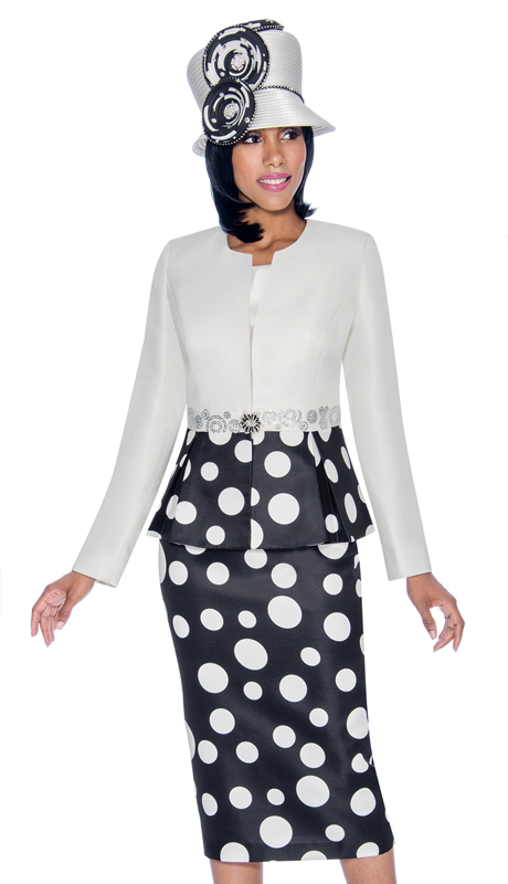 Terramina 7702-PB ( 3pc Silk Look Womens Sunday Suit With Polka Dot Print Skirt )