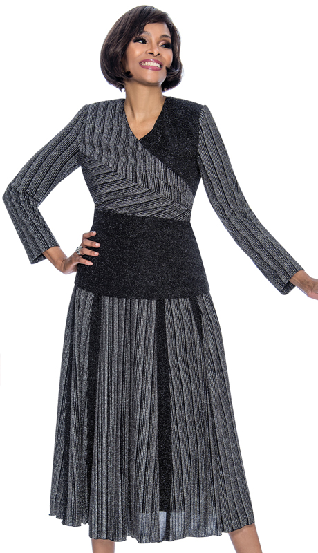 Terramina 7701-SI ( 2pc Knit Ladies Church Dress With Multi Stripe Design Accordian Pleat Skirt )