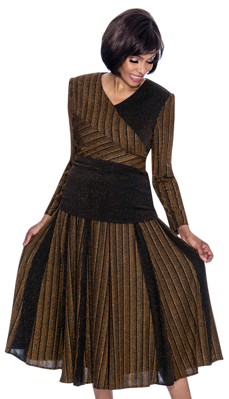 Terramina 7701-BR ( 2pc Knit Ladies Church Dress With Multi Stripe Design Accordian Pleat Skirt )