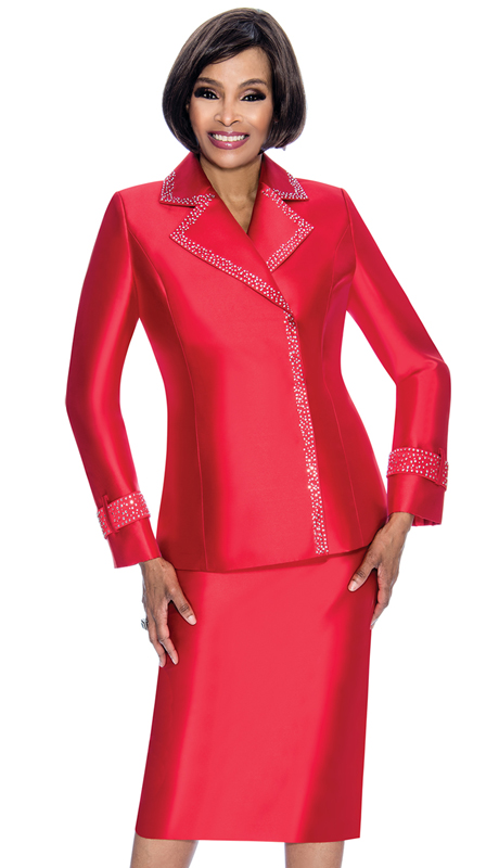 Terramina 7700-LR ( 2pc Silk Look Ladies Sunday Suit With Embellished Trim Notch Lapel Jacket )