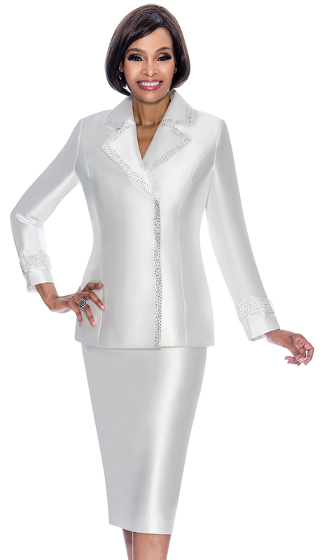 Terramina 7700-PE ( 2pc Silk Look Ladies Sunday Suit With Embellished Trim Notch Lapel Jacket )