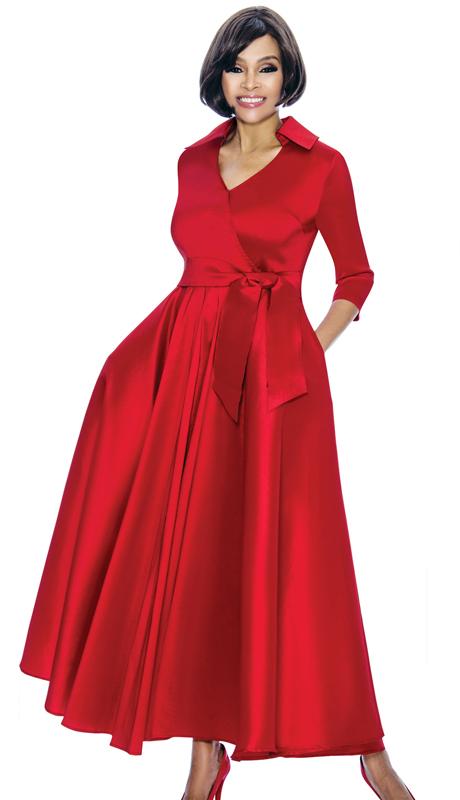 Terramina 7698-RE ( 1pc Silk Look Womens Church Dress With Sash )
