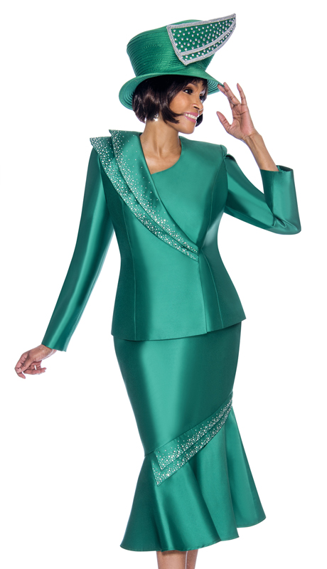 Terramina 7696-EM ( 2pc Silk Look Ladies Church Suit With Flounce Skirt And Embellished Trim Design )