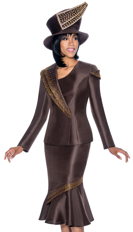 Terramina 7696-BR ( 2pc Silk Look Ladies Church Suit With Flounce Skirt And Embellished Trim Design )