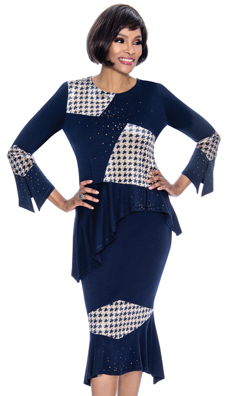 Terramina 7660-NA ( 2pc PeachSkin With Brocade Ladies Church Suit With Houndstooth Pattern And Asymmetric Jacket )