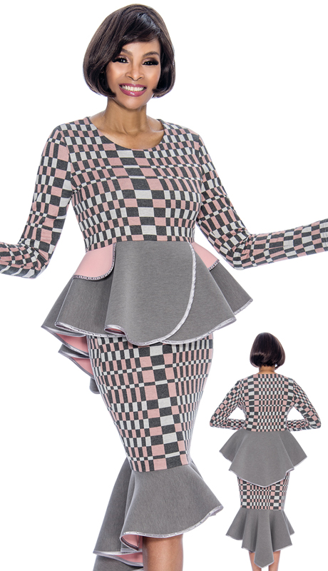 Terramina 7694-GM ( 2pc Knit Womens Sunday Suit With Flounce Skirt And Peplum Jacket )