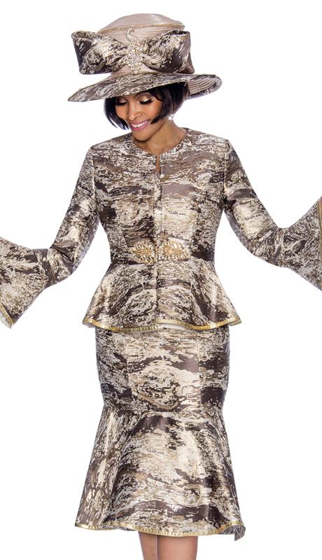 Terramina 7692-BM-CO ( 2pc Brocade Womens Sunday Dress With Flounce Skirt And Bell Cuff Sleeves )