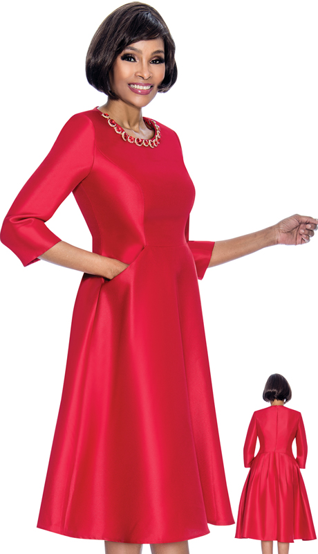 Terramina 7691-RE ( 1pc Silk Look Womens Church Dress With Stone Embellished Neckline )