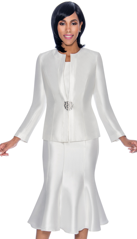 Terramina 7689 Pe 3pc Silk Look Womens Suit For Church With Flared S