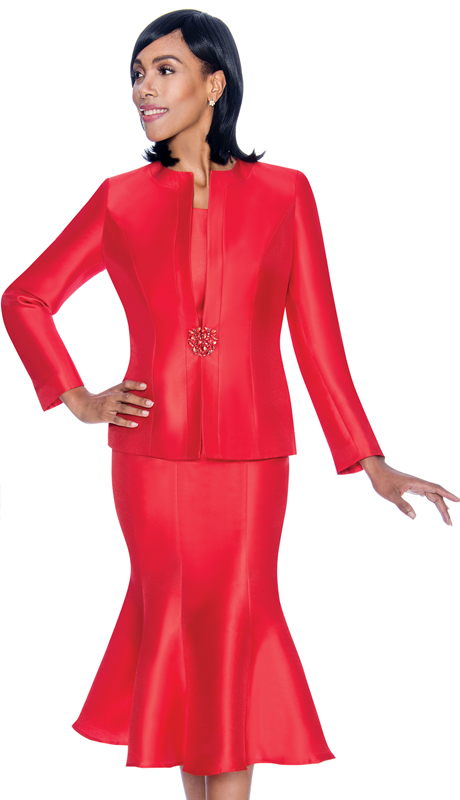 Terramina 7689-LR ( 3pc Silk Look Womens Suit For Church With Flared Skirt )