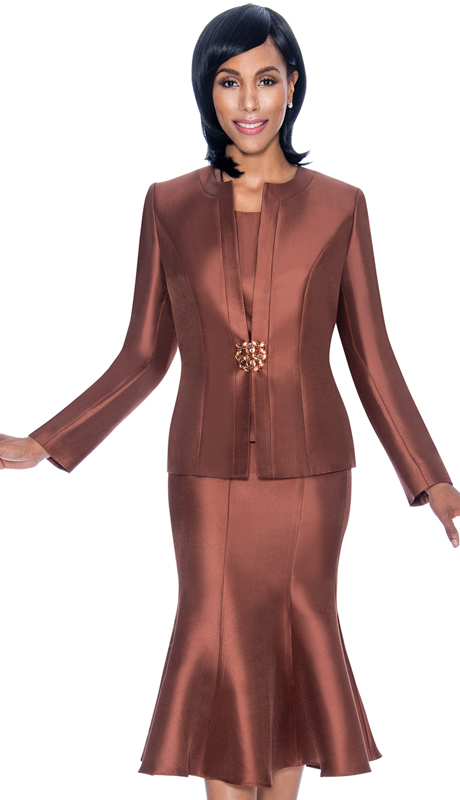 Terramina 7689-BR ( 3pc Silk Look Womens Suit For Church With Flared Skirt )