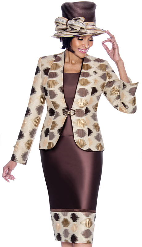 Terramina 7688-BM ( 3pc Silk Look With Novelty First Lady Suit With Multi Spot Design )