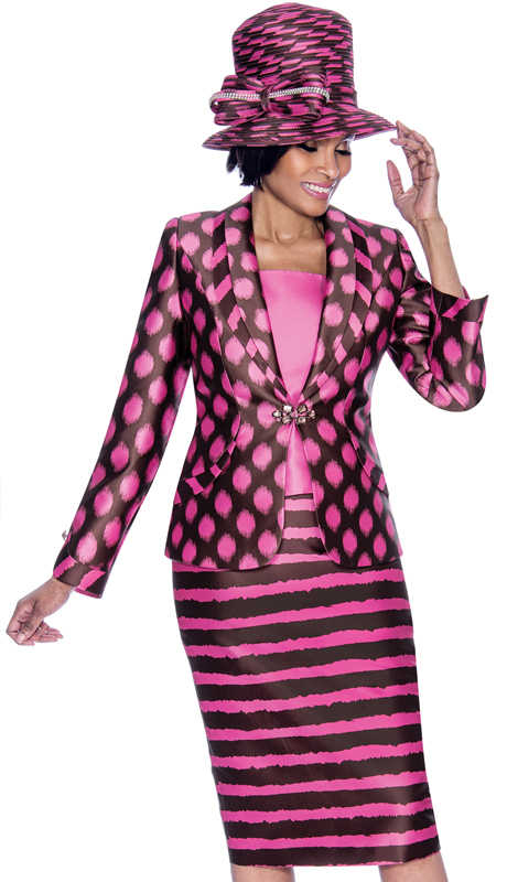 Terramina 7687-BP ( 3pc Novelty Ladies Church Suit With Spot Design Print Shawl Lapel Jacket )