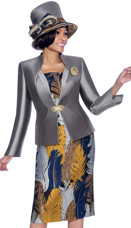 Terramina 7686-PM ( 3pc Silk Look With Novelty Forst Lady Suit With Multi Foliage Print Skirt, Solid Jacket And Brooch )