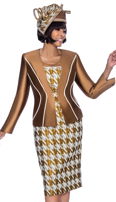 Terramina 7685-CM ( 3pc Silk Look With Brocade Womens Church Suit With Houndstooth Style Print And Stripe Detail Jacket )