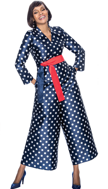 Terramina 7676-NA ( 1pc Silk Look Ladies Jump Suit With Polka Dot Pattern And Sash )