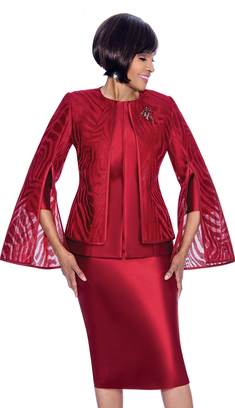 Terramina 7709-CR ( 2pc Silk Look Organza Ladies Church Suit With Layered Angel Sleeve Jacket )