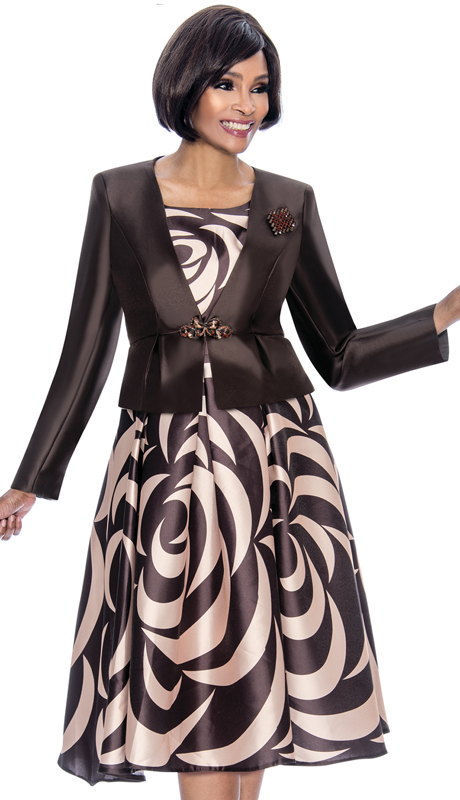 Terramina 7672-CB ( 2pc Silk Look Womens Sunday Dress With Pleated Dress, Solid Jacket And Brooch )