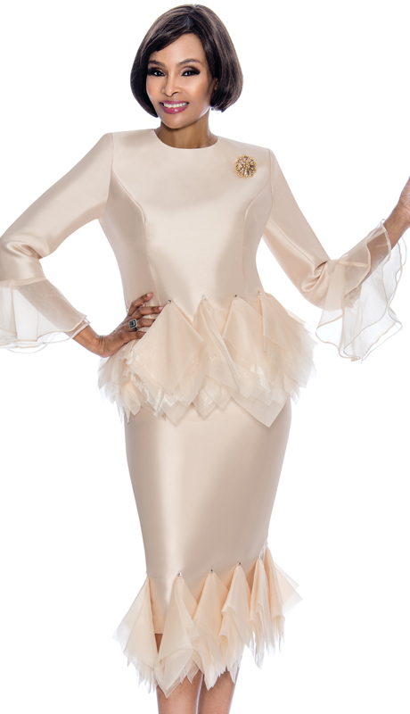 Terramina 7668-CH ( 2pc Silk Look Ladies Church Suit With Tulle Trim Design, Bell Cuffs And Brooch )