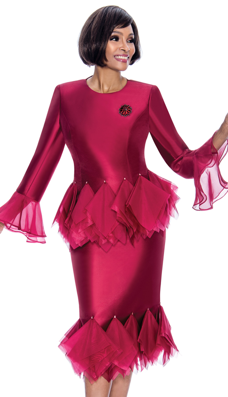 Terramina 7668-WI ( 2pc Silk Look Ladies Church Suit With Tulle Trim Design, Bell Cuffs And Brooch )