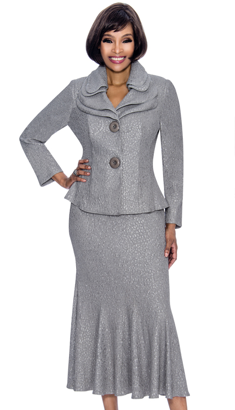 Terramina 7656-SI ( 2pc Metallic Novelty Ladies Church Suit With Godet Pleat Skirt And Layered Lapels )
