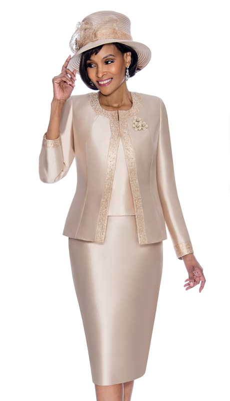 Terramina 7637-CH ( 3pc Silk Look Womens Sunday Suit With Pattern Trim Design And Brooch )