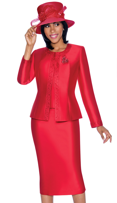 Terramina 7637-RE ( 3pc Silk Look Womens Sunday Suit With Pattern Trim Design And Brooch )
